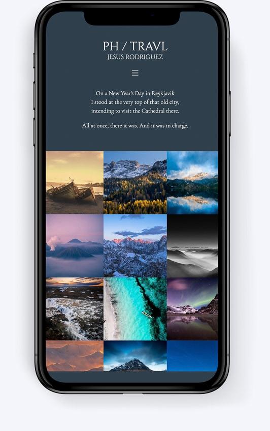 Una web para fotógrafos creada en Bluekea, en versión para móviles
